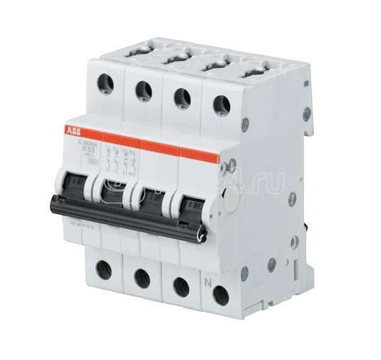 Выключатель автоматический модульный 4п (3P+N) K 25А 6кА S203 ABB 2CDS253103R0517 купить в интернет-магазине RS24