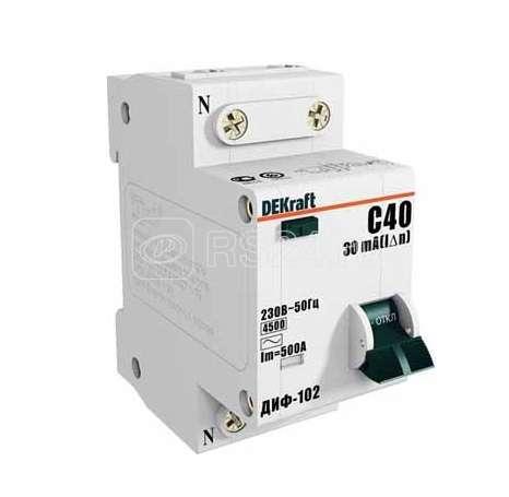 Выключатель авт. диф. тока 1п+N 2мод. C 6А 30мА тип AC ДИФ-102 4.5кА DEKraft 16001DEK купить в интернет-магазине RS24
