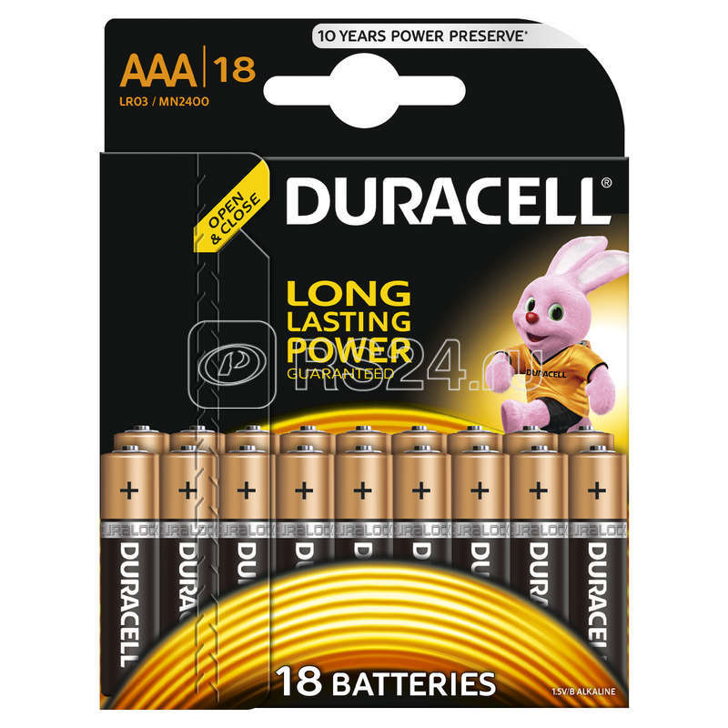 Элемент питания алкалиновый LR03-18BL BASIC (блист.18шт) Duracell Б0014449