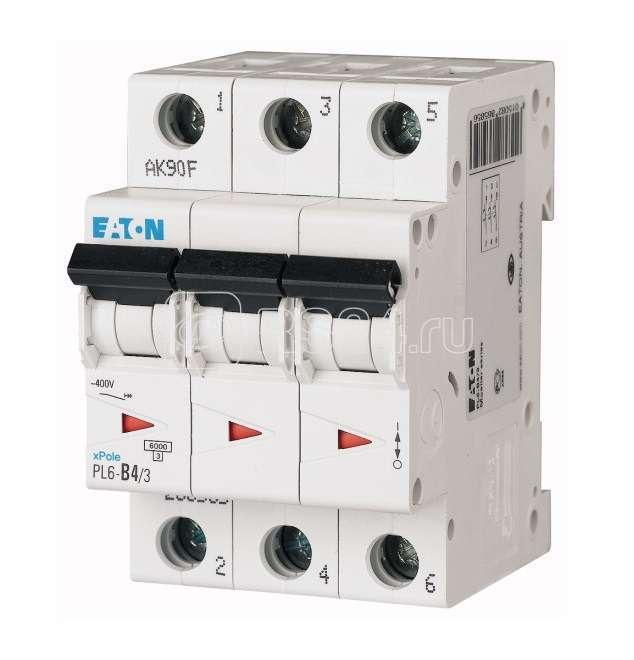 Выключатель автоматический модульный 3п D 4А 6кА PL6-D4/3 EATON 286609 купить в интернет-магазине RS24