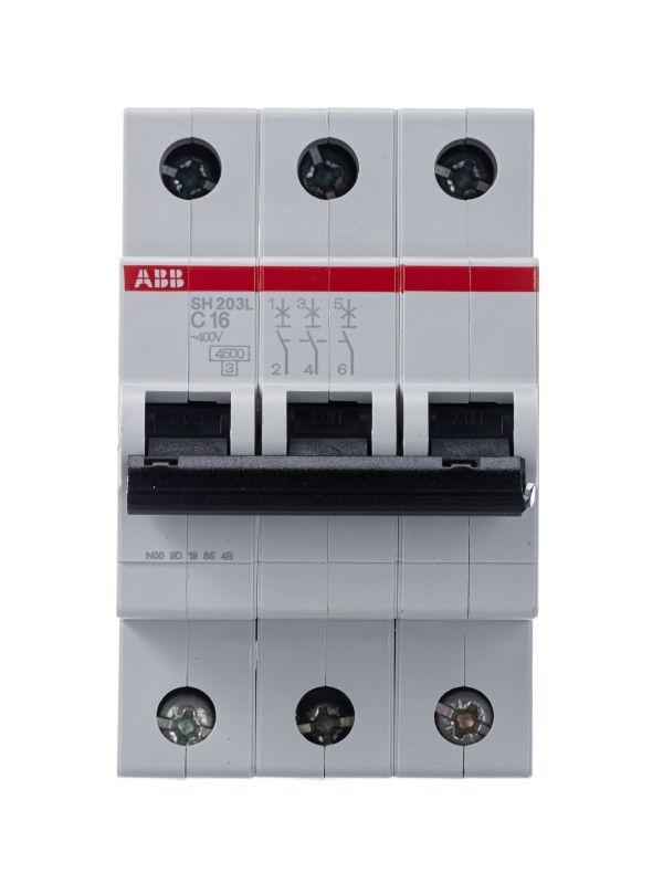Выключатель автоматический модульный 3п C 16А 4.5кА SH203L C16 ABB 2CDS243001R0164