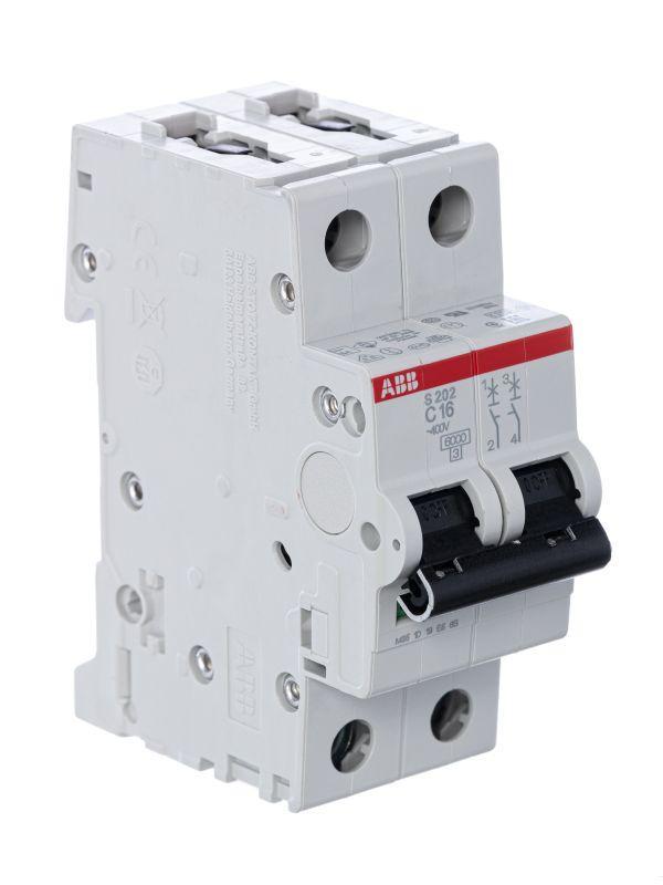 Выключатель автоматический модульный 2п C 16А 6кА S202 C16 ABB 2CDS252001R0164