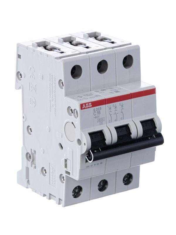 Выключатель автоматический модульный 3п C 16А 6кА S203 C16 ABB 2CDS253001R0164