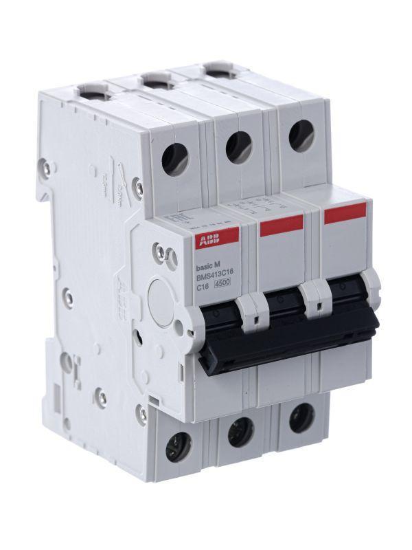 Выключатель автоматический модульный 3п C 16А 4.5кА Basic M BMS413C16 ABB 2CDS643041R0164