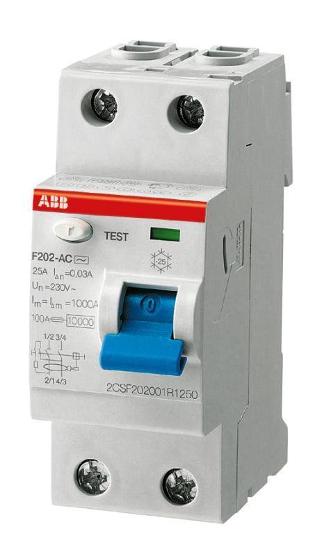 Выключатель дифференциального тока (УЗО) 2п 63А 30мА тип AC F202 ABB 2CSF202001R1630