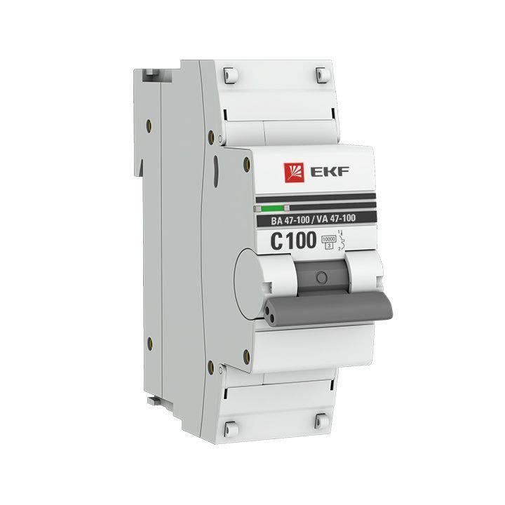 Выключатель автоматический модульный 1п C 100А 10кА ВА 47-100 PROxima EKF mcb47100-1-100C-pro