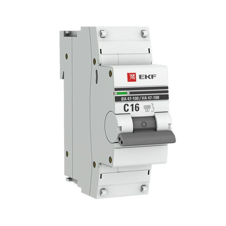 Выключатель автоматический модульный 1п C 16А 10кА ВА 47-100 PROxima EKF mcb47100-1-16C-pro
