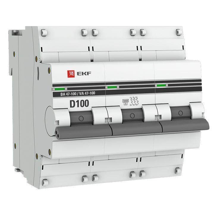 Выключатель автоматический модульный 3п D 100А 10кА ВА 47-100 PROxima EKF mcb47100-3-100D-pro