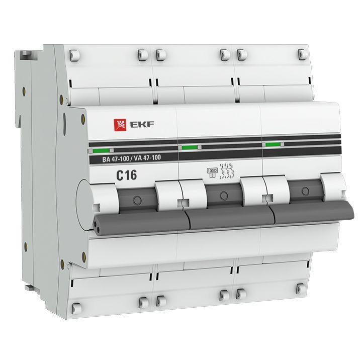 Выключатель автоматический модульный 3п C 16А 10кА ВА 47-100 PROxima EKF mcb47100-3-16C-pro