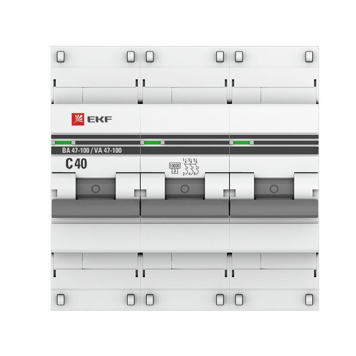 Выключатель автоматический модульный 3п C 40А 10кА ВА 47-100 PROxima EKF mcb47100-3-40C-pro