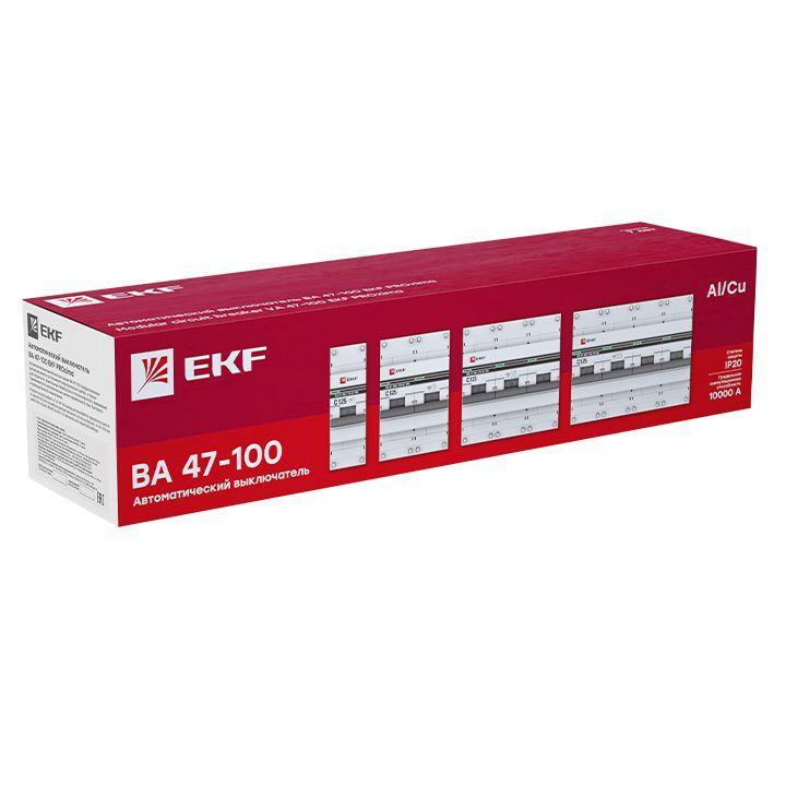 Выключатель автоматический модульный 3п D 80А 10кА ВА 47-100 PROxima EKF mcb47100-3-80D-pro