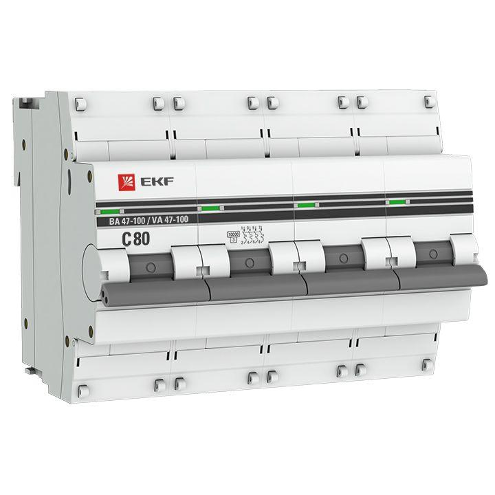 Выключатель автоматический модульный 4п C 80А 10кА ВА 47-100 PROxima EKF mcb47100-4-80C-pro