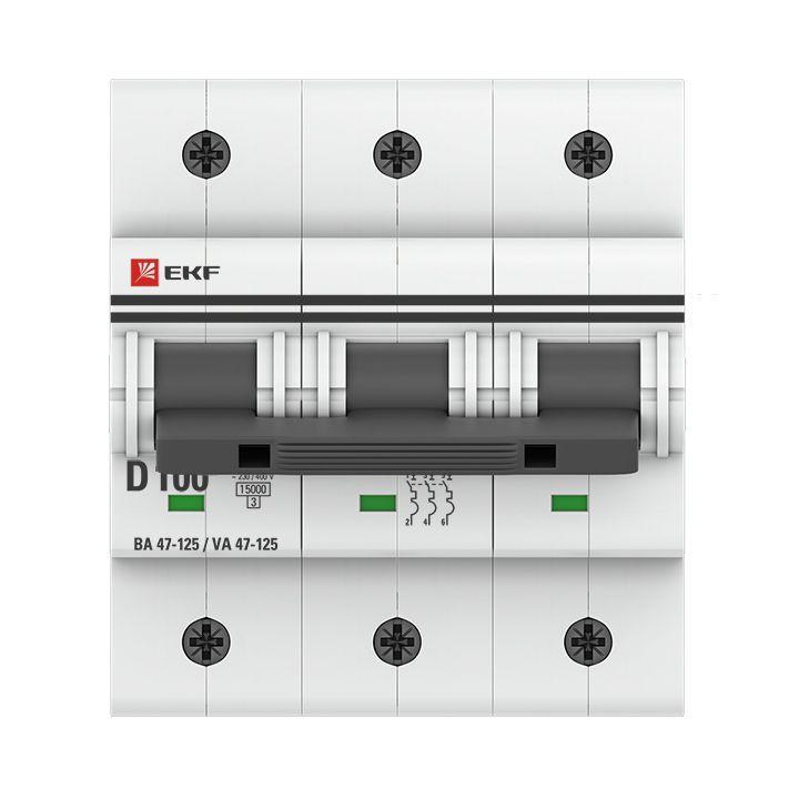 Выключатель автоматический модульный 3п C 100А 15кА ВА 47-125 PROxima EKF mcb47125-3-100C