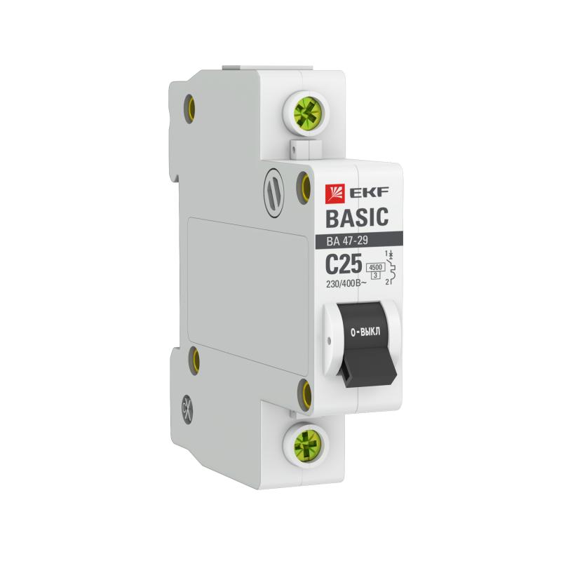 Выключатель автоматический модульный 1п C 25А 4.5кА ВА 47-29 Basic EKF mcb4729-1-25C