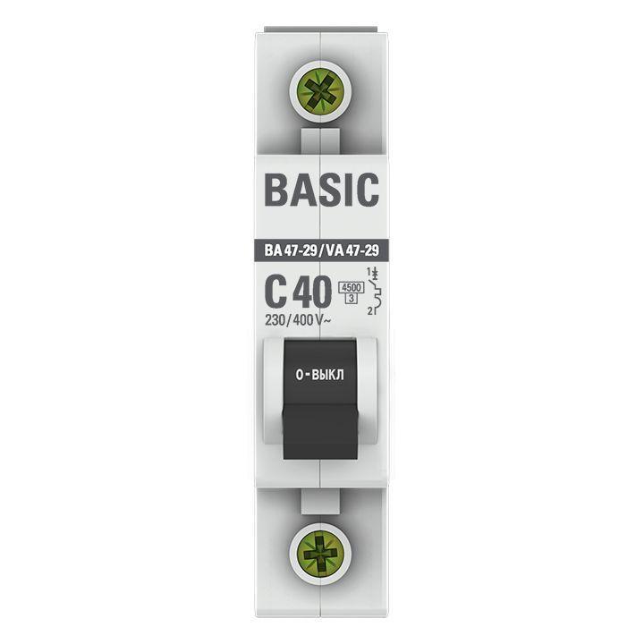 Выключатель автоматический модульный 1п C 40А 4.5кА ВА 47-29 Basic EKF mcb4729-1-40C