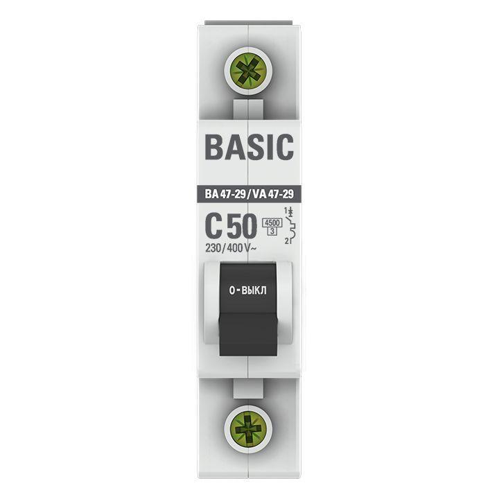 Выключатель автоматический модульный 1п C 50А 4.5кА ВА 47-29 Basic EKF mcb4729-1-50C