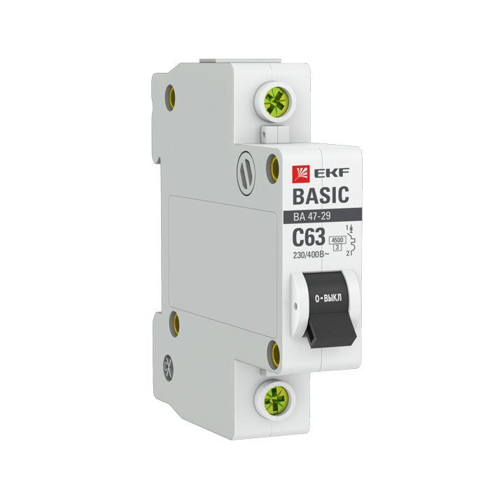 Выключатель автоматический модульный 1п C 63А 4.5кА ВА 47-29 Basic EKF mcb4729-1-63C