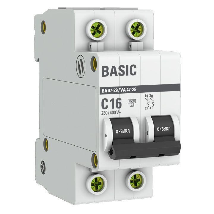 Выключатель автоматический модульный 2п C 16А 4.5кА ВА 47-29 Basic EKF mcb4729-2-16C