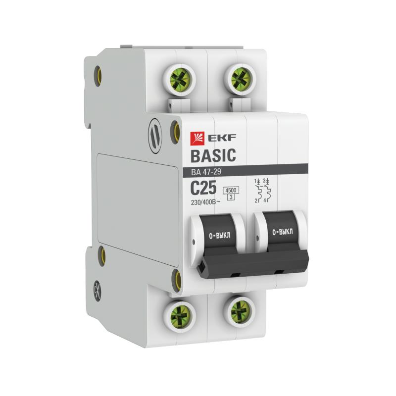 Выключатель автоматический модульный 2п C 25А 4.5кА ВА 47-29 Basic EKF mcb4729-2-25C