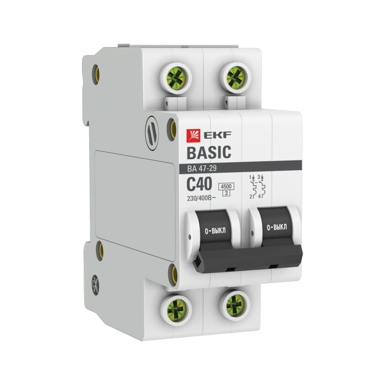 Выключатель автоматический модульный 2п C 40А 4.5кА ВА 47-29 Basic EKF mcb4729-2-40C
