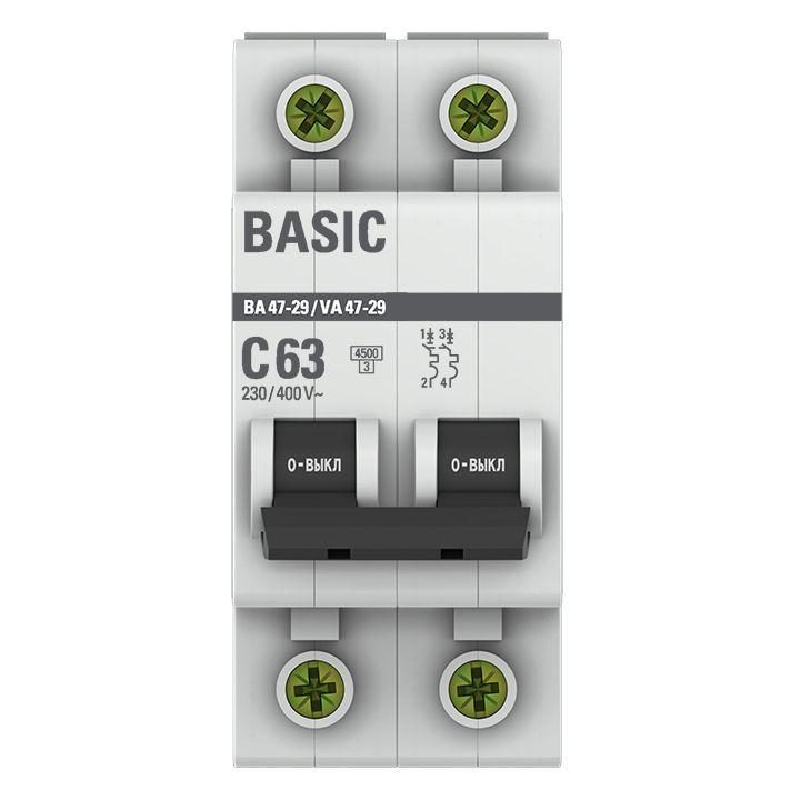 Выключатель автоматический модульный 2п C 63А 4.5кА ВА 47-29 Basic EKF mcb4729-2-63C