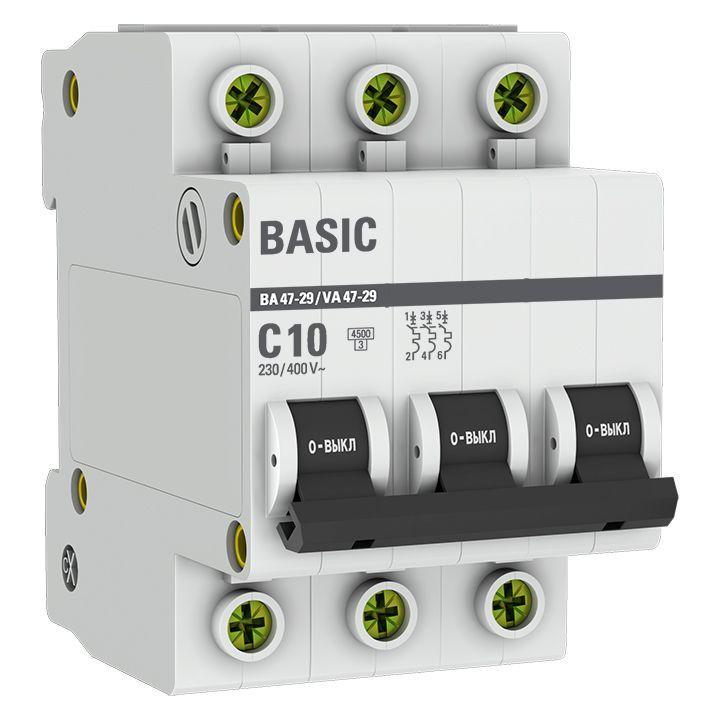 Выключатель автоматический модульный 3п C 10А 4.5кА ВА 47-29 Basic EKF mcb4729-3-10C