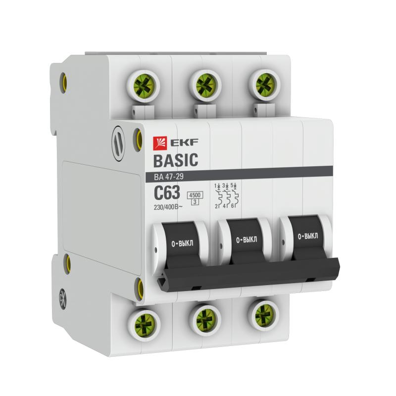 Выключатель автоматический модульный 3п C 63А 4.5кА ВА 47-29 Basic EKF mcb4729-3-63C