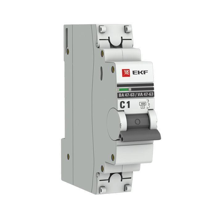 Выключатель автоматический модульный 1п C 1А 4.5кА ВА 47-63 PROxima EKF mcb4763-1-01C-pro