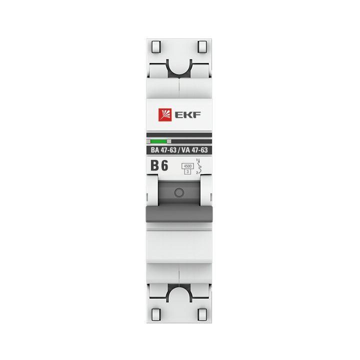 Выключатель автоматический модульный 1п B 6А 4.5кА ВА 47-63 PROxima EKF mcb4763-1-06B-pro