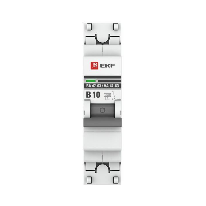 Выключатель автоматический модульный 1п B 10А 4.5кА ВА 47-63 PROxima EKF mcb4763-1-10B-pro