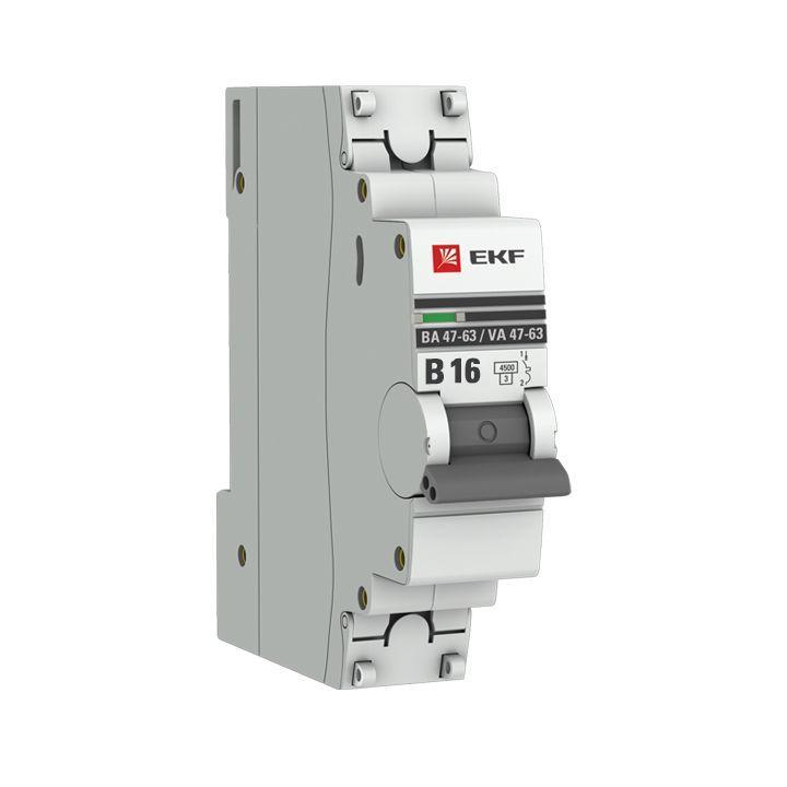 Выключатель автоматический модульный 1п B 16А 4.5кА ВА 47-63 PROxima EKF mcb4763-1-16B-pro
