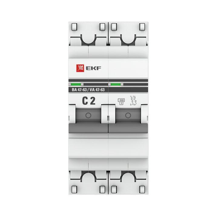 Выключатель автоматический модульный 2п C 2А 4.5кА ВА 47-63 PROxima EKF mcb4763-2-02C-pro