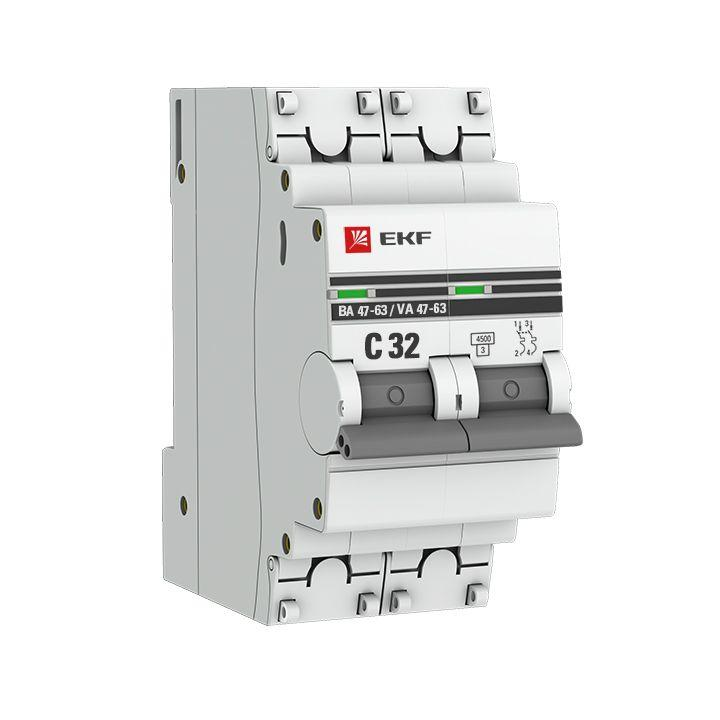 Выключатель автоматический модульный 2п C 32А 4.5кА ВА 47-63 PROxima EKF mcb4763-2-32C-pro