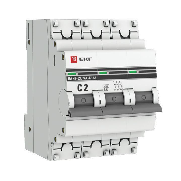 Выключатель автоматический модульный 3п C 2А 4.5кА ВА 47-63 PROxima EKF mcb4763-3-02C-pro