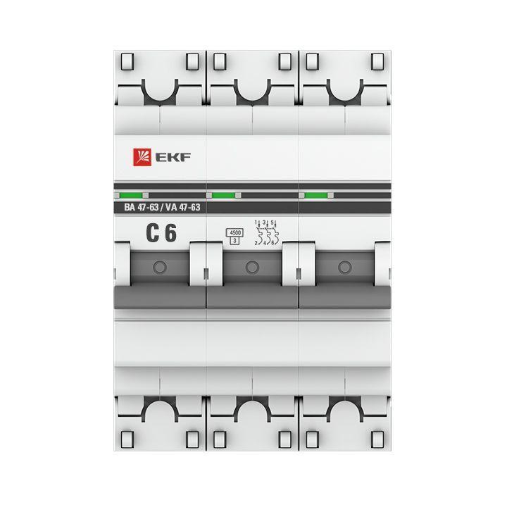 Выключатель автоматический модульный 3п C 6А 4.5кА ВА 47-63 PROxima EKF mcb4763-3-06C-pro