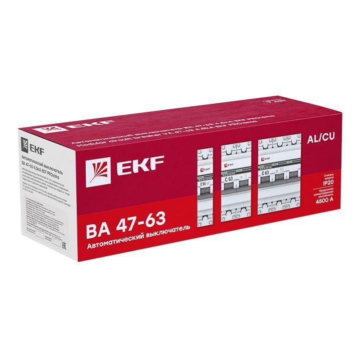 Выключатель автоматический модульный 3п D 40А 4.5кА ВА 47-63 PROxima EKF mcb4763-3-40D-pro