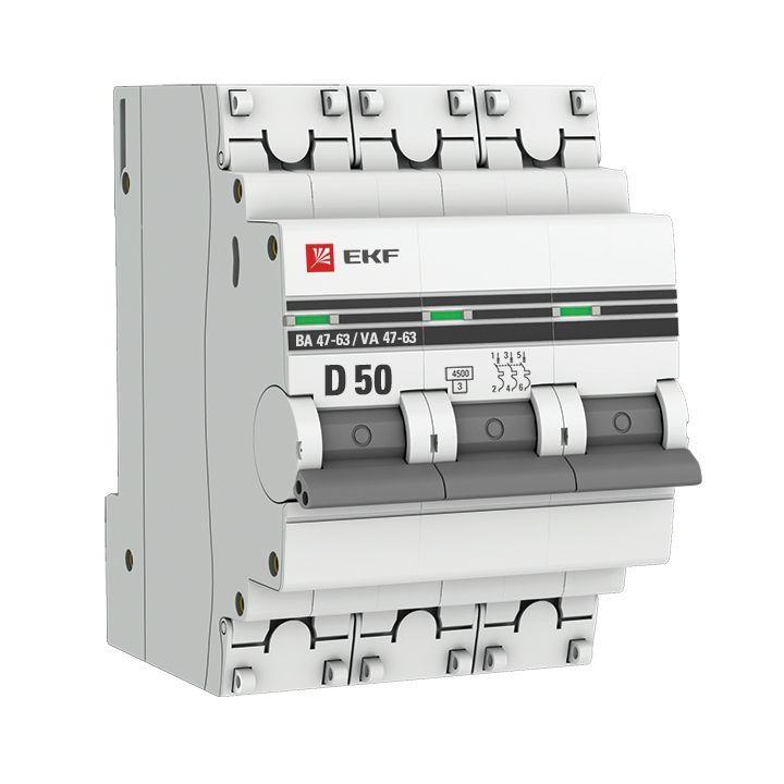 Выключатель автоматический модульный 3п D 50А 4.5кА ВА 47-63 PROxima EKF mcb4763-3-50D-pro