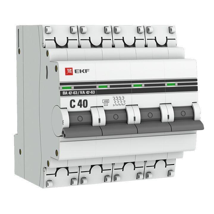 Выключатель автоматический модульный 4п C 40А 4.5кА ВА 47-63 PROxima EKF mcb4763-4-40C-pro