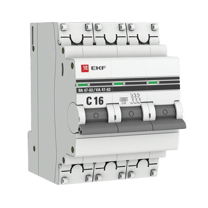 Выключатель автоматический модульный 3п C 16А 6кА ВА 47-63 PROxima EKF mcb4763-6-3-16C-pro