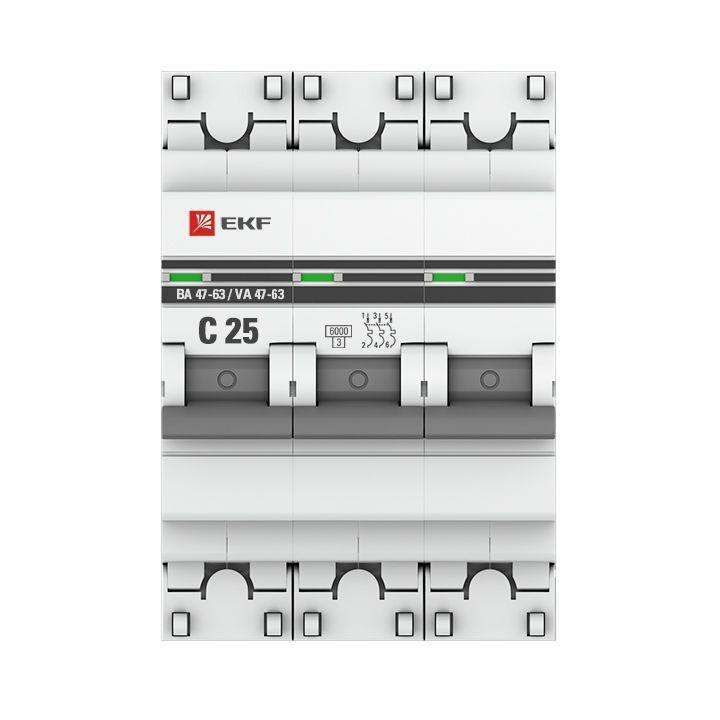 Выключатель автоматический модульный 3п C 25А 6кА ВА 47-63 PROxima EKF mcb4763-6-3-25C-pro