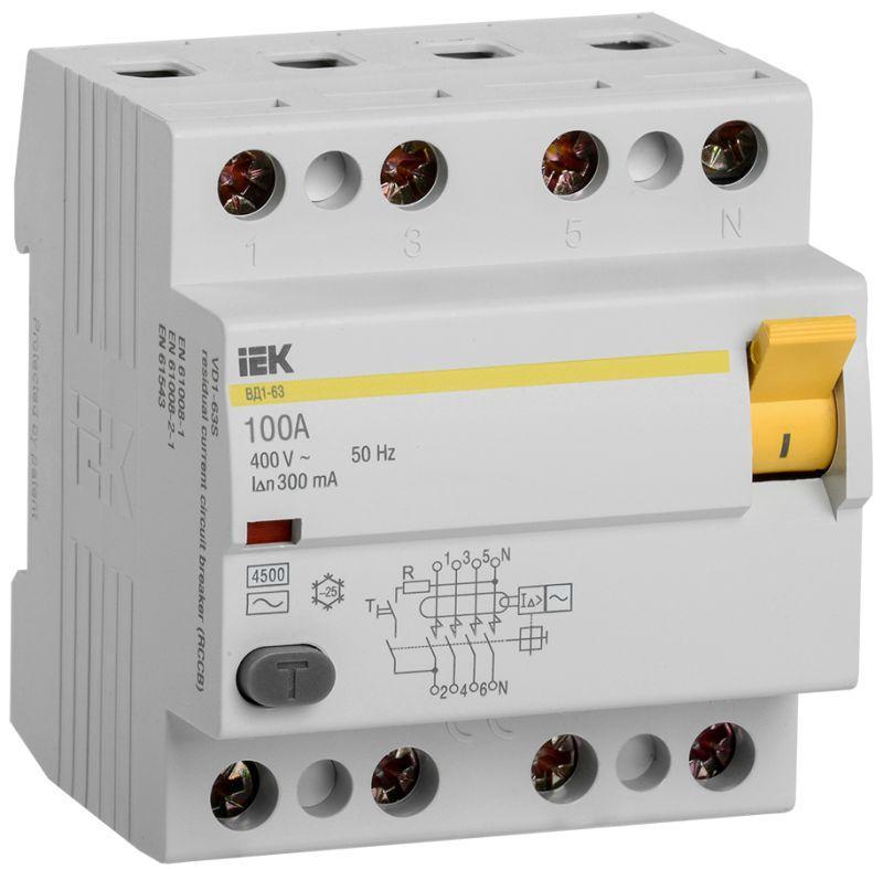 Выключатель дифференциального тока (УЗО) 4п 100А 300мА тип AC ВД1-63 IEK MDV10-4-100-300