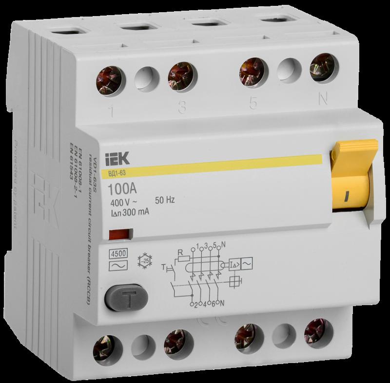 Выключатель дифференциального тока (УЗО) 4п 100А 300мА тип AC ВД1-63 ИЭК MDV10-4-100-300