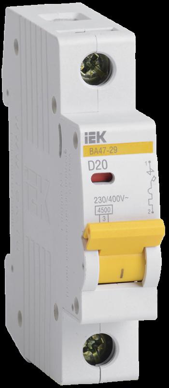 Выключатель автоматический модульный 1п D 20А 4.5кА ВА47-29 IEK MVA20-1-020-D