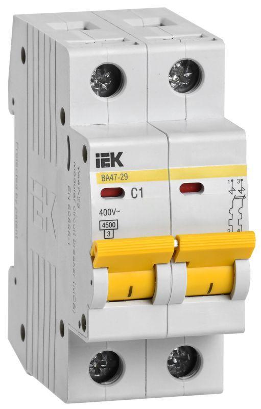 Выключатель автоматический модульный 2п C 1А 4.5кА ВА47-29 IEK MVA20-2-001-C