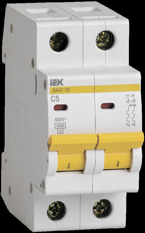 Выключатель автоматический модульный 2п C 5А 4.5кА ВА47-29 IEK MVA20-2-005-C