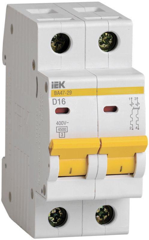Выключатель автоматический модульный 2п D 16А 4.5кА ВА47-29 IEK MVA20-2-016-D