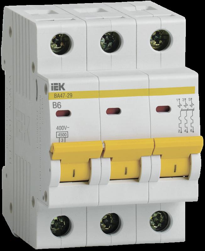 Выключатель автоматический модульный 3п B 6А 4.5кА ВА47-29 IEK MVA20-3-006-B