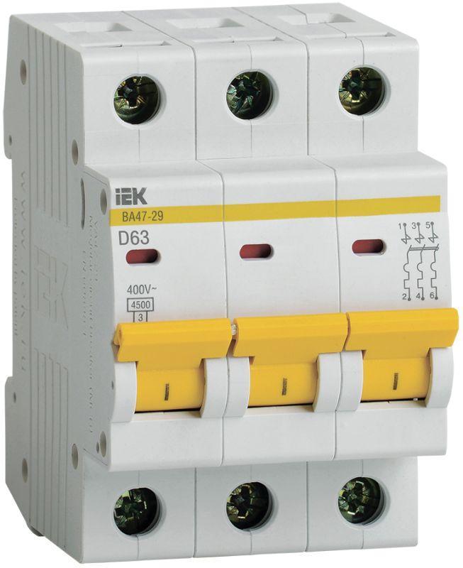 Выключатель автоматический модульный 3п D 63А 4.5кА ВА47-29 IEK MVA20-3-063-D