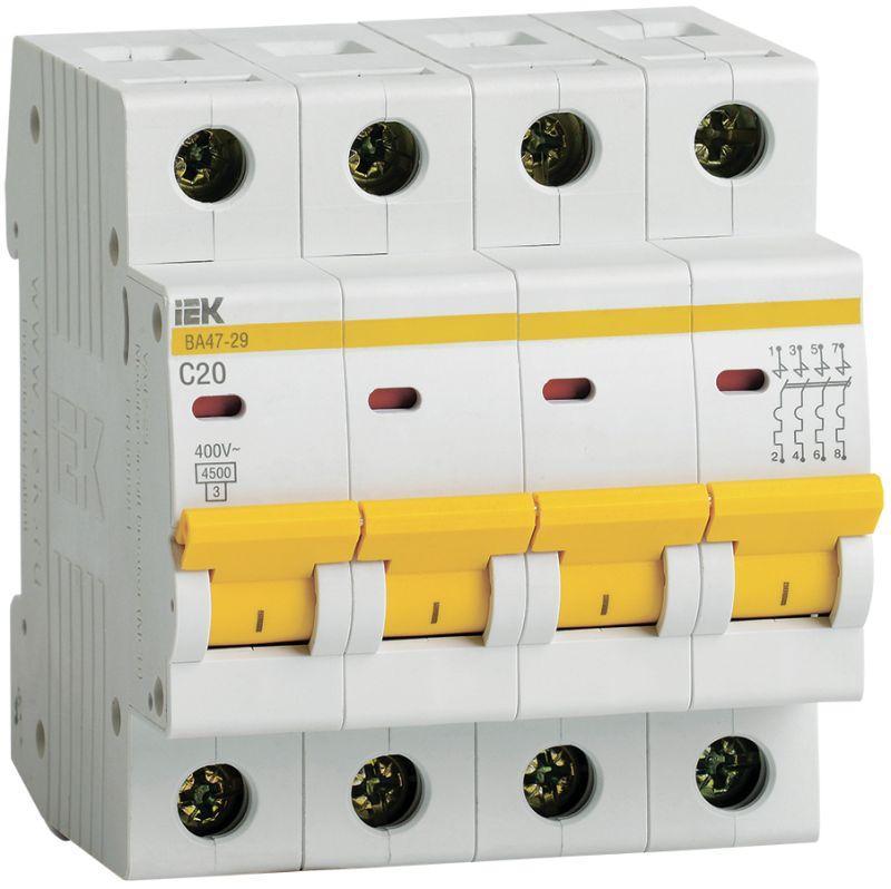 Выключатель автоматический модульный 4п C 20А 4.5кА ВА47-29 IEK MVA20-4-020-C
