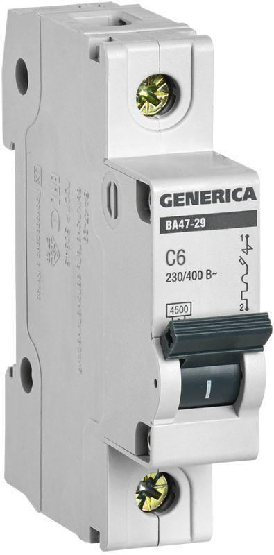 Выключатель автоматический модульный 1п C 6А 4.5кА ВА47-29 GENERICA IEK MVA25-1-006-C